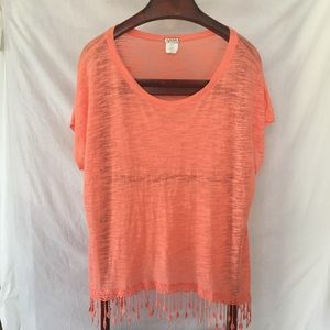 Women's plus dress/ casual top with fringe coral